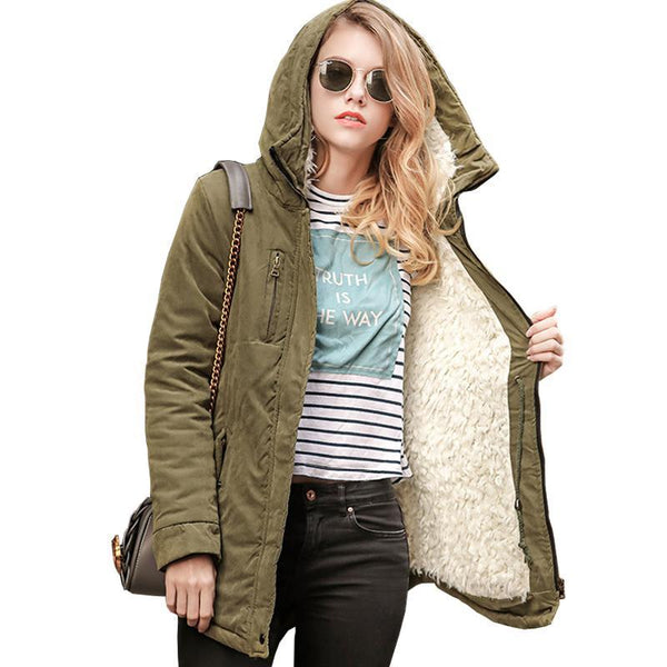 Women Warm Jacket Thick Hooded Coat Parka-elatestore-elatestore