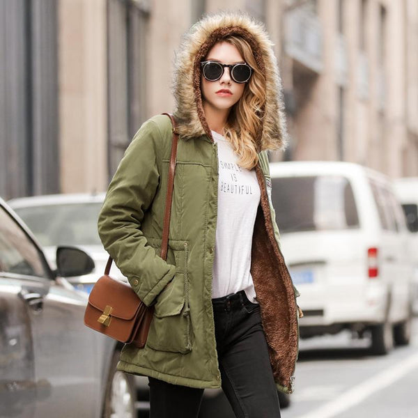 Women Casual Warm Jacket Hooded Fur collar Parka Drawstring Slim Coats-elatestore -elatestore