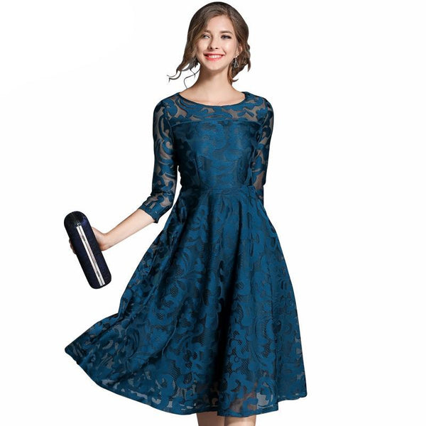 H han queen Autumn Lace Dress Work Casual Slim Fashion O-neck Sexy Hollow Out Blue Red Dresses Women A-line Vintage Vestidos - elatestore