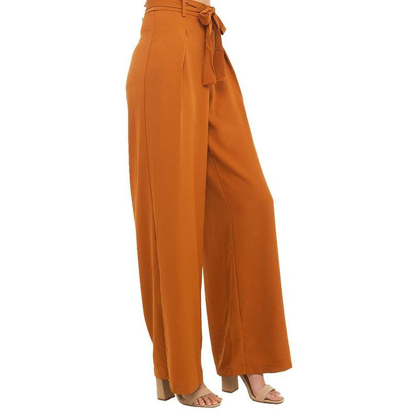HDY Haoduoyi  Women Orange Wide Leg Chiffon Pants High Waist Tie Waist Trousers Palazzo OL Pants Long Culottes Pants - elatestore