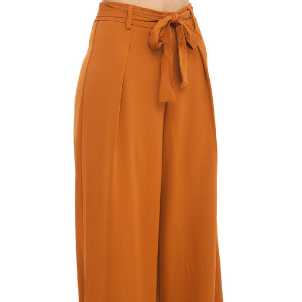 HDY Haoduoyi  Women Orange Wide Leg Chiffon Pants High Waist Tie Waist Trousers Palazzo OL Pants Long Culottes Pants