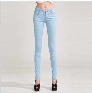 HEE GRAND Women's Candy Pants 2017 Pencil Jeans Ladies Trousers Mid Waist Full Length Zipper Stretch Skinny Women Pant WKP004