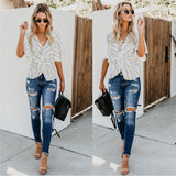 Women Strip Print Blouse V Neck Half Sleeve Shirt Loose Tops Tunic-elatestore -elatestore