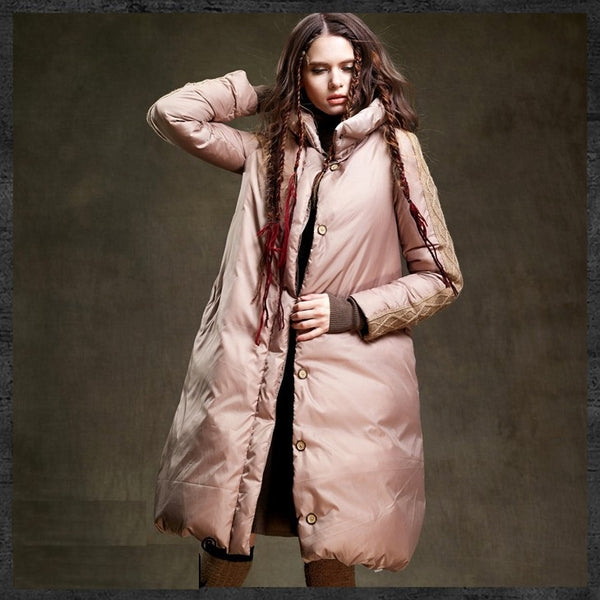 Warm Winter Jacket Duck Down Coat Long Down Jacket Quilted Parka Removable Scarf-elatestore-elatestore