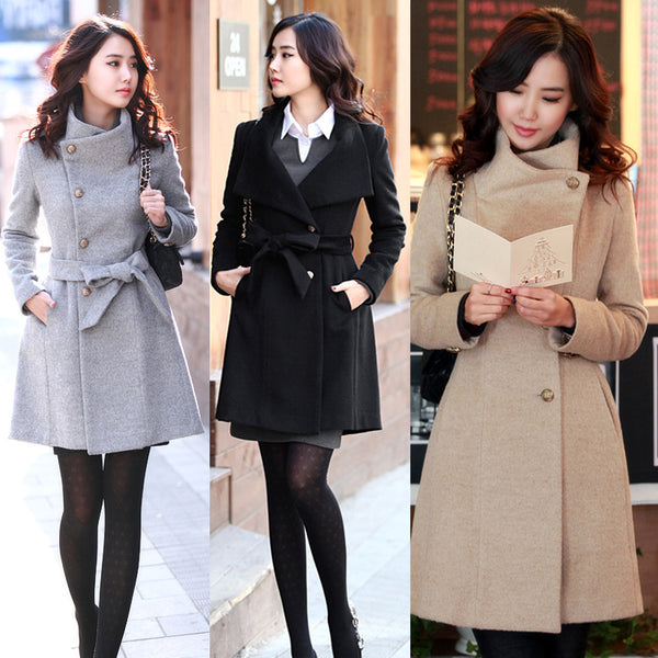 Hot Fashion Korean Style Slim Winter Noble Long Trench Coat - elatestore