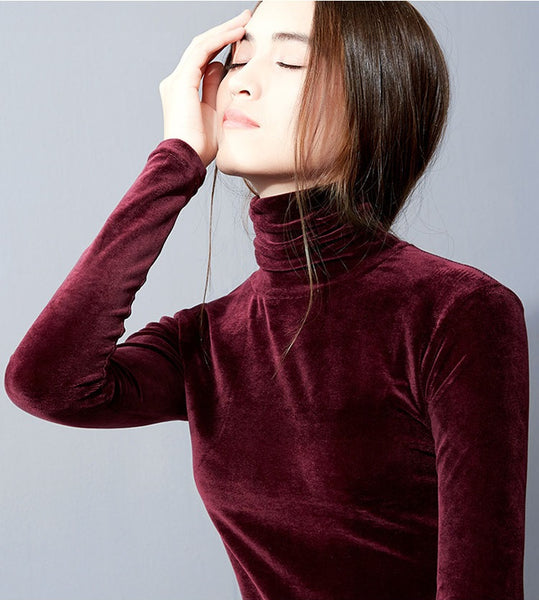 Sweet Lady Velvet Turtleneck Blouse Long Sleeve Comfy Stretch Sweater-elatestore -elatestore