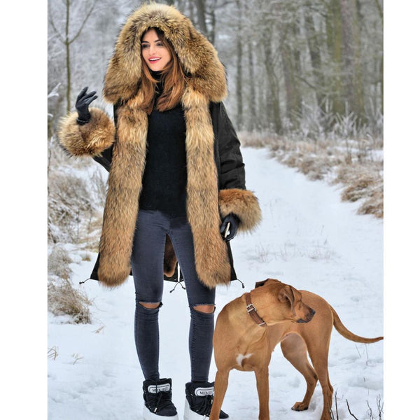 Warm Women Jacket Thick Big Hooded High Waist Faux Fur Coat-elatestore -elatestore
