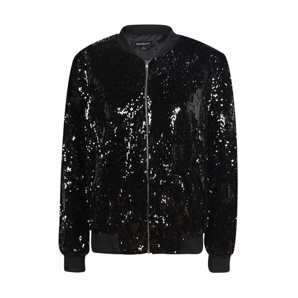 Women Sequin Coat Green Bomber Jacket  Long Sleeve Zipper Streetwear Jacket Preppy Loose Casual Basic Coat - elatestore