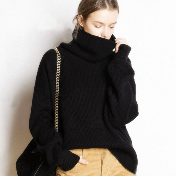 Women Casual Cashmere Turtleneck Loose Sweaters Long Pullovers Knitted Jumpers
