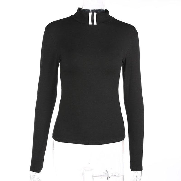 Women Turtleneck Tops Striped T Shirt Long Sleeve Slim T Shirts Tees-elatestore -elatestore