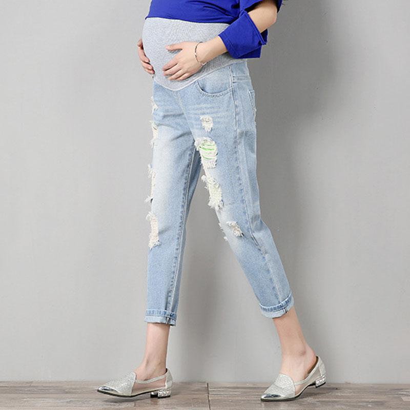 328f8b647a59f Jeans Maternity Pants For Pregnant Women Clothes Trousers Nursing Prop  Belly Legging Pregnancy Clothing Overalls Ninth Pants