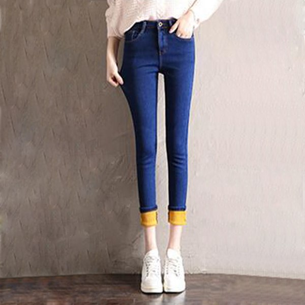 Velvet Thick High Waist Women Jeans Warm Denim Trousers-elatestore -elatestore