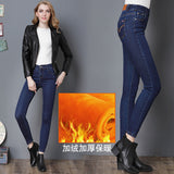 Velvet Warm Jeans Pant Mid Waist Skinny Stretch Denim Pencil Trousers-elatestore -elatestore