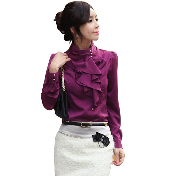 Ruffle Faux Satin Long Puff Sleeve Stand Collar Blouse