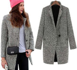 Elegant Long Woolen Single Breasted Coat - elatestore