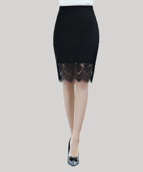 Lace skirt 2016 Leisi package hip skirt was thin waist and long skirt career step skirts women