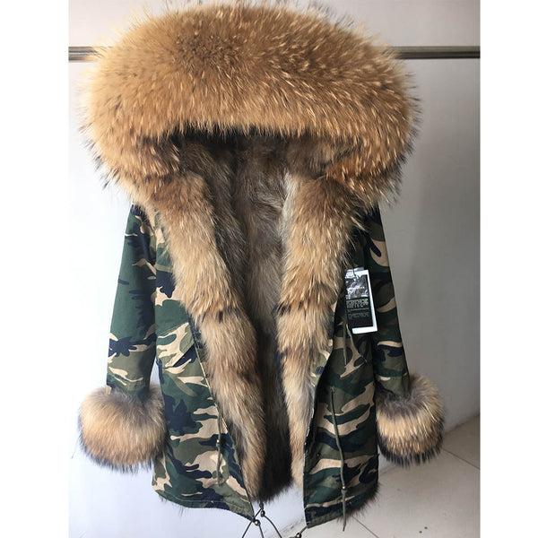 Elegant Warm Real Raccoon Fur Collar Coat Fox Liner Parkas Hooded Jacket - elatestore