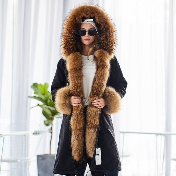 Natural Raccoon Parkas Black Raccoon Fur Lining Coat X Long Jacket-elatestore-elatestore