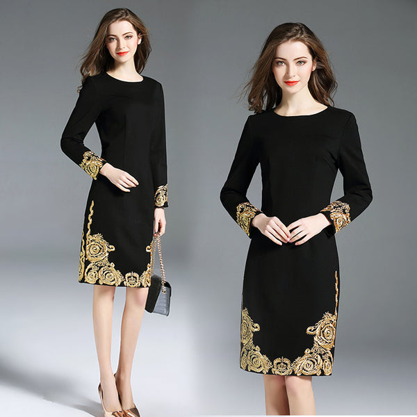 Elegant Embroidery O-Neck Grace Slim Waist Knee-Length Dress - elatestore