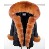 Warm Real Fox Fur Collar Cuff Parka Hooded Coat Camouflage Jacket-elatestore-elatestore