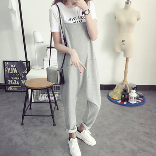 Maternity Bib Pants Pregnant Trousers Belt Plus Size XXXL Clothes-For-Fat-Women Pregnant-Overalls Jumpsuit Solid Color Women