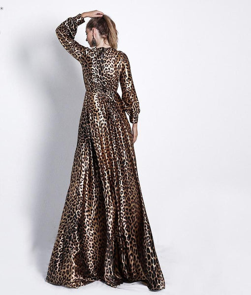 Missord 2018 Sexy Deep V Long Sleeve High Split Leopard Print Dresses Female Cross Maxi Elegant Dress Vestdios FT18642-elatestore -elatestore
