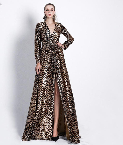 22a1e23741e Missord 2018 Sexy Deep V Long Sleeve High Split Leopard Print Dresses  Female Cross Maxi Elegant ...