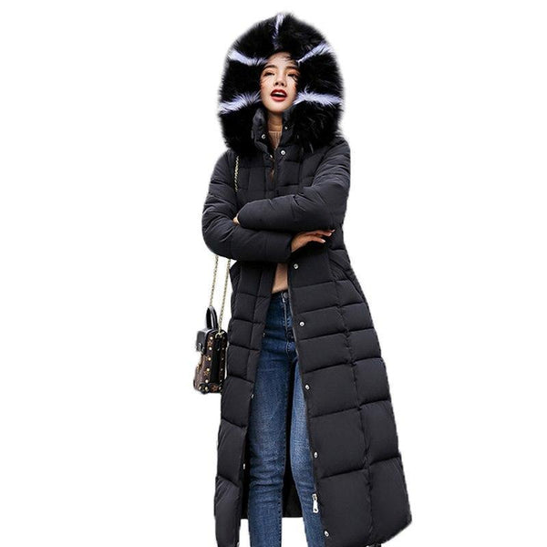 Women Fur Hooded Parka Long Coat Warm Thick Jacket-elatestore -elatestore
