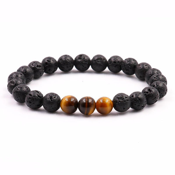Natural Tigers Eye with Lava Stone Bracelet Meditation Abundance Power Jewelry