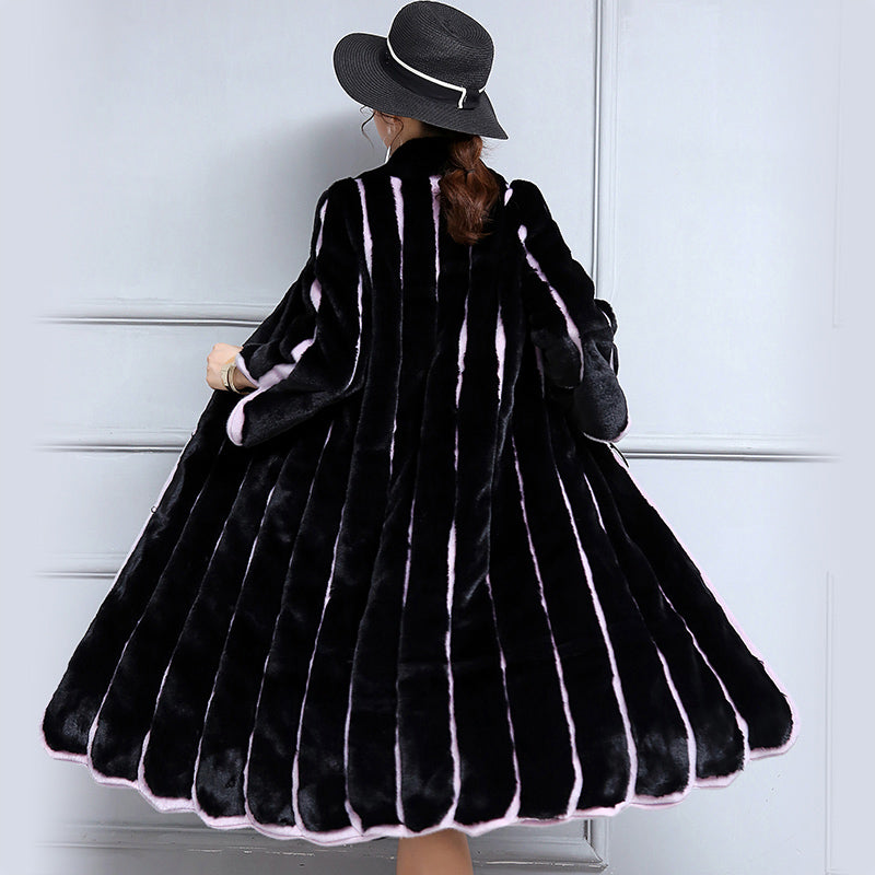 bc38360a1cf Nerazzurri 2019 Women Faux Fur Coat Long Black And Purple Contrast Color  Striped Patchwork Loose Overcoat