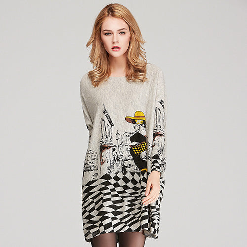 Casual Long Pullover Batwing Print Sweater - elatestore