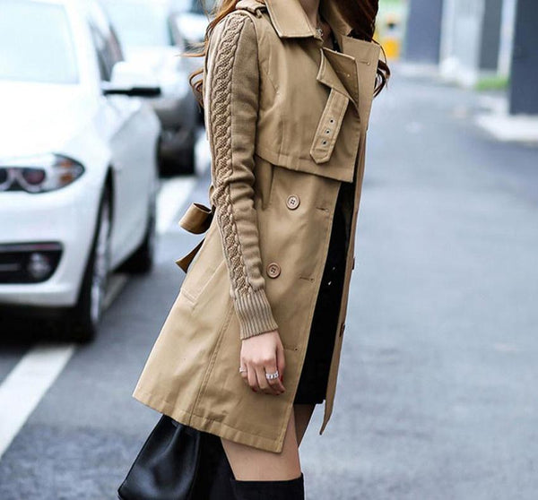 Women Warm Parka Coat Notch Stand Collar Jacket-elatestore-elatestore