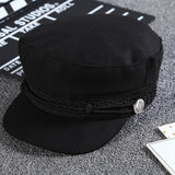 Casual Cool Girls Beret Rope Flat Cap Black Lace Embroidery Captain Hat - elatestore