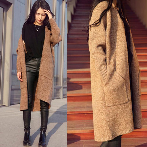 Warm Single Breasted Coat Cashmere Parka Long Sweater Cardigan-elatestore-elatestore