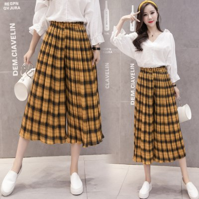 Wide Women Pants Harajuku Pleated Chiffon Trousers Elastic High Waist