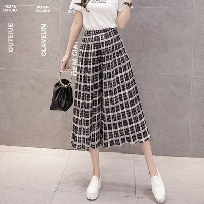 Wide Women Pants Pleated Chiffon Trousers Elastic High Waist-elatestore -elatestore