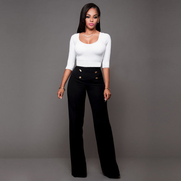 New Fashion Women Casual High Waist Empire Career OL Wide Leg Button Pants Capris Solid Buttons Long Pants Trousers Loose Pants