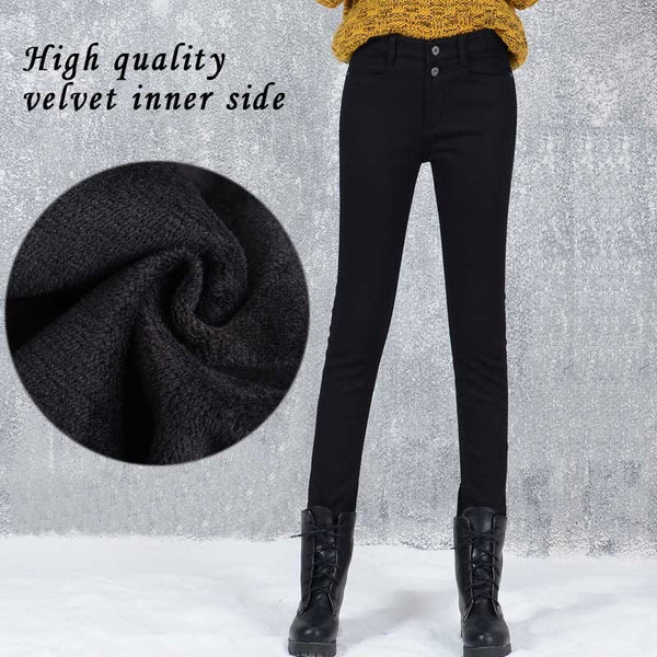 New Winter Soft Pencil Pants Velvet Inside Female Casual Slim Velvet Elastic Warm Long Jean Pants Women Skinny Black Solid pants - elatestore