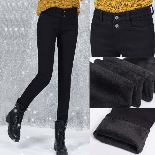 winter Soft Pencil Pants Velvet Inside Female Casual Slim Velvet Elastic Warm Long Jean Pants Women Skinny Black Solid Pants-elatestore -elatestore
