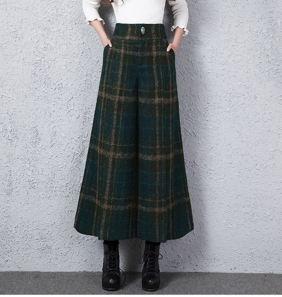 Women Vintage Plaid Wool Wide Leg Pants High Waist Casual Trousers-elatestore -elatestore