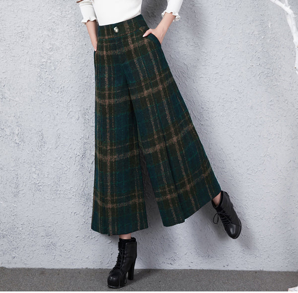 Women Vintage Plaid Wool Wide Leg Pants High Waist Casual Trousers