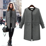 Chic Warm Woolen Long Coat Single Breasted Jacket Vintage Parka - elatestore