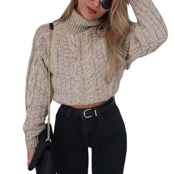Sexy Thick Casual Winter Jumper Turtleneck Crop Sweater Short Pullover