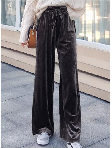 Pink Black Women Gold Velvet Wide Leg Pants 2019 Spring Fashion Loose Tracksuits Trousers Woman High Waist Pantalon-elatestore-elatestore