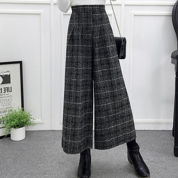 Elegant Plaid Wide Leg Pants High Waist Elastic Loose Trousers Pantalon