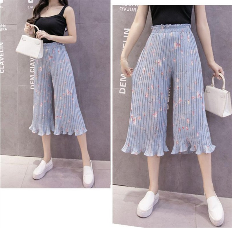 Pleated Chiffon Wide Leg Pants High Waist Cropped Loose Large Trousers-elatestore  -elatestore 79ea49259