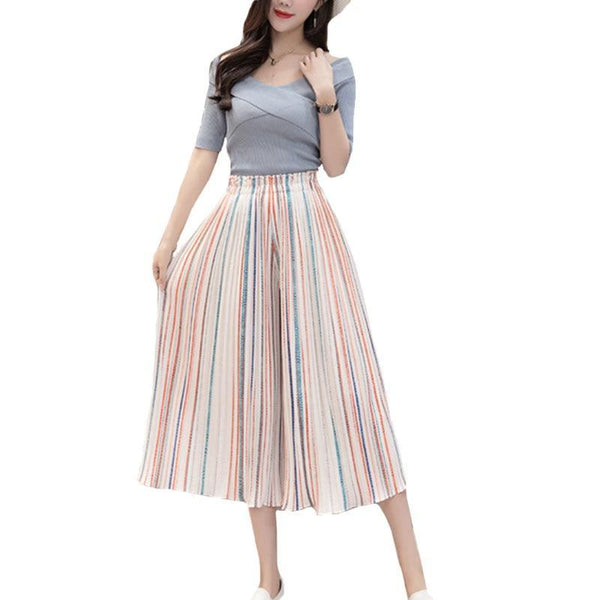 Pleated Chiffon Wide Leg Pants High Waist Cropped Loose Large Trousers