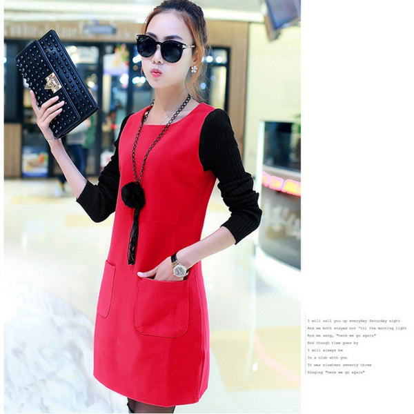 Elegant Thicken Velvet Long Sleeve Female O-Neck Mini Plus Size Dress - elatestore