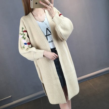 Women Long Cardigan Lantern Sleeve Embroidery Jacket Side Split Sweater-elatestore-elatestore