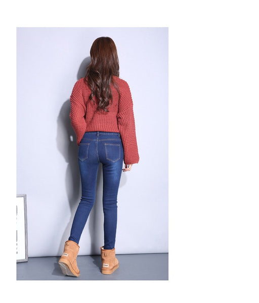Women Pencil Pants Thick Velvet High Waist Skinny Stretch Jeans Trousers